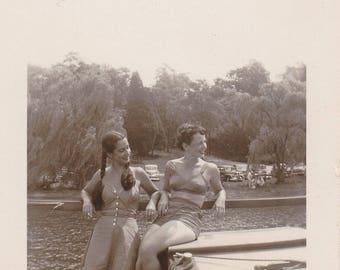 Floating Boats- 1940s Vintage Photograph- Women in Swimsuits- Two Piece Bikini- Summer Snapshot- Found Photo- Vernacular- Paper Ephemera