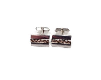 Two Tone Vintage Cufflinks Swank Angled Back Chain Design Mens Formal Hipster Jewelry Wedding Mens Mid Century Groom Best Man