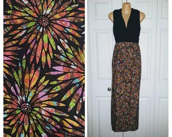 It's only flock and roll ... Vintage 60s maxi dress / cocktail party / velvet empire waist / 1960s psychedelic floral .. S M bust 36