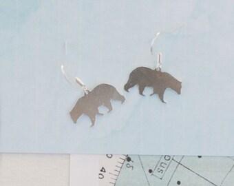 Silver Bear Earrings, Bear Charm Earrings, Drop Earrings, Polar Bear Earrings, Bear Jewellery, Mama Bear Earrings, Bear Charms