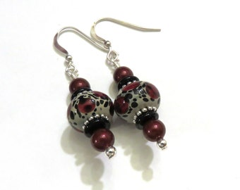 Red Leopard Lampwork Earrings With Red Swarovski Pearls, Red Lampwork Earrings, Black Earrings, Red Earrings, Red Pearl Earrings