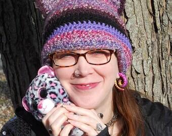 Purple Rainbow Kitty, Cat Ear crocheted Pussy Hat