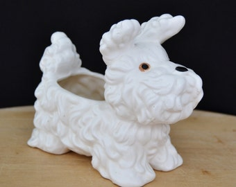 Vintage 1960s Terrier Planter in White by Inarco