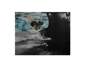 Surreal Art Paper Collage Print, Swimming Art, 8.5 x 11 inch Print, Retro Wall Decor Black and Blue Woman Diving Swimmer Gift
