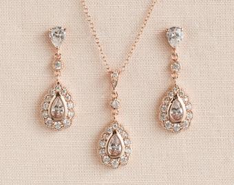 Rose Gold Bridal Earrings, Rose Gold Wedding Jewelry,  Bridesmaids Jewelry Set, Wedding Jewellery, Heather Bridal Jewelry SET