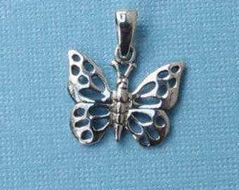 Sterling Silver Butterfly Pendant - 12x16mm - Sold Per Piece