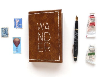 Wander Contemporary Embroidery Travel Sketchbook No. 17 | Handbound, One-of-a-kind, Mixed Paper Travel Leather Brown Journal