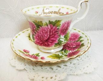 Royal Albert Teacup & Saucer, Flower of the Month Series, November Chrysanthemum, Vintage English Bone China