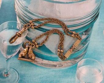 Watch chain bracelet, antique watch chain bracelet, Victorian watch chain, assembled watch chain bracelet, gold watch chain, 7.5 inches