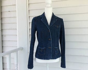 Denim Blazer 90s Vintage Jean Blazer Jeans Blazer Dark Denim Jean Jacket Medium Boho Blue Jean Blazer Denim Suit Coat 10 Preppy Blue Blazer