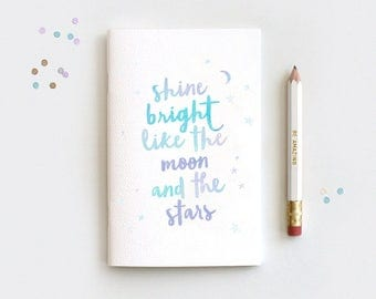 Birthday Gifts for Her - Midori Travelers Notebook Insert & Pencil Set, Shine Bright Like the Moon and the Stars, Watercolor Style, 3 Sizes