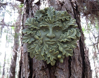 Green Man Face, Concrete Face, Oak Tree Face, Cement Faces, Tree Faces, Hanging Garden Decor, Yard Art, Concrete Statue, Concrete Greenman
