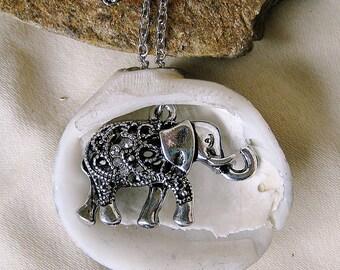 Hand Made Seashell Charm Necklace with a Beautiful Tibetan Elephant Charm