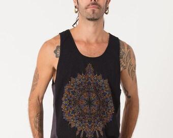 Cotton Tank Top Men Yoga Tank Tribal Mandala Screen Printed Psychedelic Festival Wear Mens Sleeveless Grey And Black