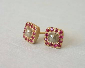 Green Diamond and Ruby Studs in 18k Gold . Diamond Studs . Square Stud Earrings . Gold Ruby Studs . Rosecut Diamond Studs . Green and Red