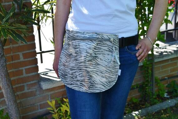 Leather waist bag,Belt bag,hip leather bag,fanny pack leather,zebra bag,hip belt bag,rider bag,leather fanny,zipper waist,animal print bag