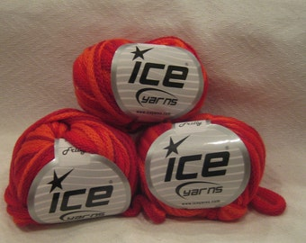 Ice Yarn 6 balls/skeins Frilly Scarf Knitting Yarn Ruffle scarf yarn for Knitting ORANGE RED striped 6 balls