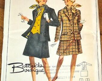 Vintage 1970s Sewing Pattern Butterick Boutique 4585 Three Piece Suit Weskit Vest Jacket Hip Skirt Scarf Women Miss Size 10 Bust 31 Uncut FF
