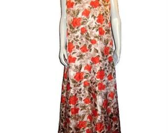 1950s Maxi Dress Long Floral Dress Orange Green White Maxi  Long A Line dress Sleeveless Dress Evening Dress 50s Evening Gown Summer Gown