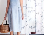 Linen dress for women, linen smock. Summer dress, gingham dress, linen smocked dress, mothers day gift, Made in Italy. Plus size clothing.