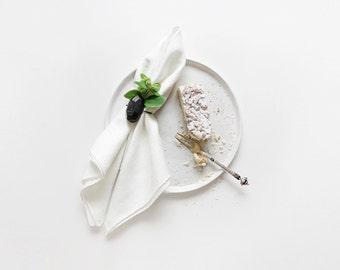 Edged table linens, Off white linen tablecloth, Off white linen table runner, Off white linen table napkins set