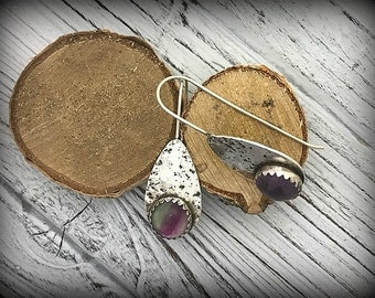 Sterling Silver and Flourite Paddle Earrings