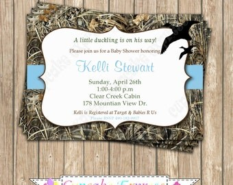 Camo baby Boy Duck Hunting blue baby shower  PRINTABLE Invitation 5x7  camouflage orange duckling