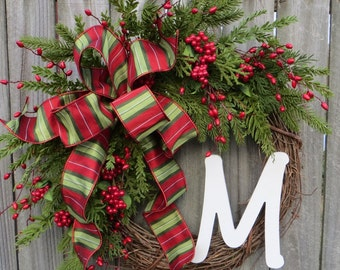Christmas Wreath, Realistic Christmas Wreath, Christmas Door Wreaths, Monogram Christmas Wreaths, Christmas Wreaths Etsy, Berries and Pine