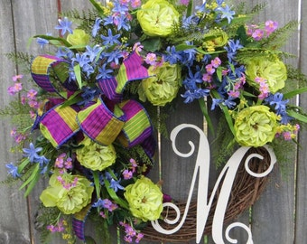 Spring Wreath, Wreath for Spring and Summer, Periwinkle, Green and Orchid Color Wreath, Rose Wreath, Bright Electric Cool Colors Monogram