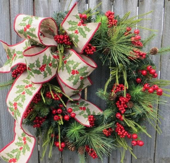Xmas Wreath: Christmas Wreath Winter Wreath Burlap Holly Wreath Greenery