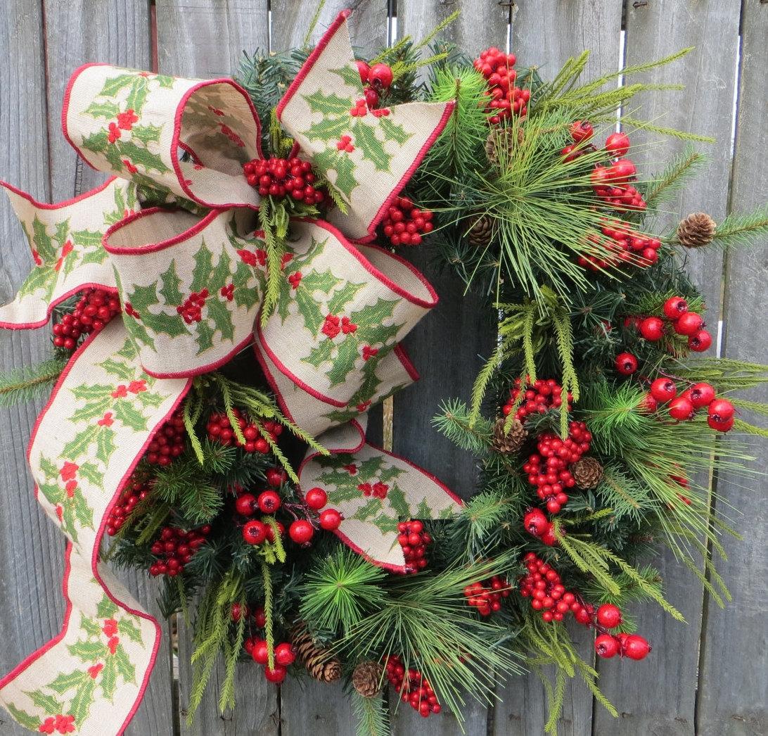 Christmas Wreath Winter Wreath Burlap Holly Wreath Greenery
