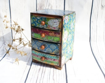 Mini chest drawers Cats meow flowers pattern with Sewing
