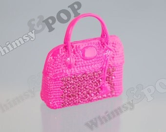 1 - 3D Alloy Metal Kawaii Tote Purse Handbag Hot Pink Handbag Charm Pendant, Handbag Pendant, Purse Charm, 42mm x 42mm (R8-224)