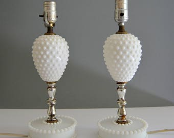 Hobnail Milk Glass Lamps - Pair Set of Two Vintage Lamps Glass Lamp