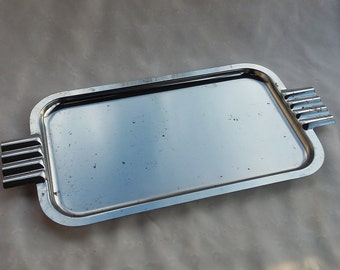 Modern Minimalist Serving Tray Platter with Patina Metal