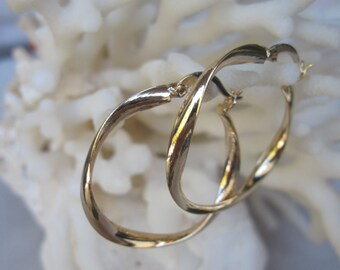 Yellow Gold Ribbon with a Gentle Twist Hoop Earrings