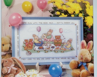 Counted Cross Stitch Pattern PICNIC PALS Easter Bunny Rabbit By Lorri Birmingham