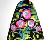 Tabletop Ironing Board Cover - Black, pink, blue, green and yellow Jane Sassaman Early Birds fabric