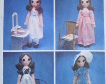 Un-used vintage  Style sewing pattern for a  Rag doll and wardrobe of clothes