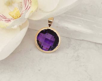 10.96ct Checkerboard Amethyst in 14k Yellow Gold Handmade Pendant