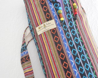 Yoga Mat Bag - Amazing MEXICAN Fabric - black & coloued stripes - roomy, unisex, quiet, extra wide draw string close. PURE COTTON