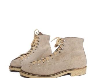 SALE 8 D | Men's Vintage Roofer Boot Tan Suede Monkey Boots Lace Up Work Boot