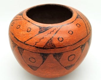 Maricopa Pottery - Native American Pottery - Red and Black Pottery Bowl - Pottery