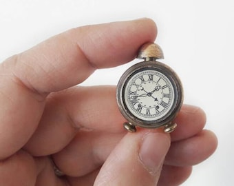 Vintage Miniature Brass Retro Alarm Clock Dollhouse