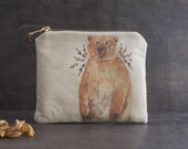 Makeup Organizer Bag, Small Cosmetic Bag, Brown Bear Bag, Woodland Animals Fabric, Credit Card Holder, Color Pencil Case, Gift for Her