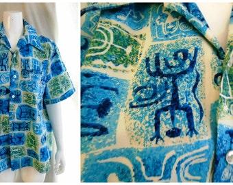 Vintage Hawaiian Shirt Tiki Shirt 1960's Cotton Cave Art Print Top Loop L/XL
