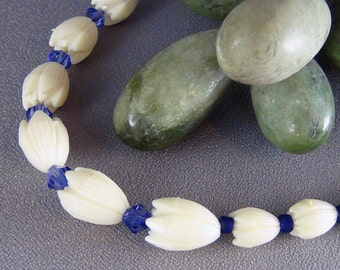 """Children's Necklace  - Vintage Resin Pikaki Beads from Hawaii, Blue Crystals, Frosted Blue Beads - 14 1/2""""+2""""- Hand Crafted Artisan Jewelry"""
