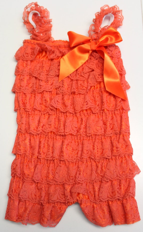 Orange Baby Lace Romper,Petti Romper,Lace Romper,Newborn Coming Home Outfit,Take Home Outfit,Easy Diaper Change,FAST SHIP,Ready to Ship
