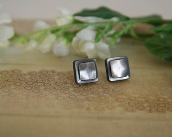 Square Button Earrings Brushed Metal Posts - made with small buttons
