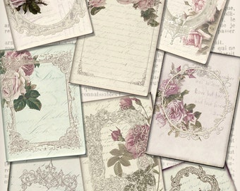 Flowers and Frames ATC cards printable 2.5 x 3.5 inch paper crafting scrapbooking instant download digital collage sheet - VDATVI1424